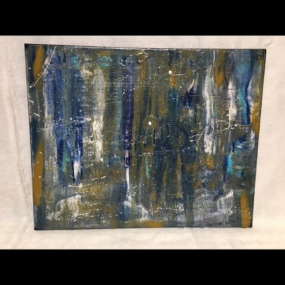 Blue Gold Abstract Painting On Canvas J M Post